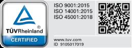 TUV ISO 9001:2015 | ISO 14001:2015 | ISO 45001:2018