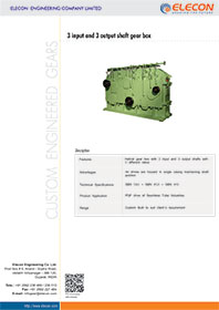 elecon product catalog for 3 INPUT 3 OUTPUT SHAFT GEARBOX
