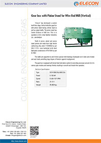 elecon product catalog for GEAR BOX WITH PINION STAND FOR WIRE ROD MILL DRIVE