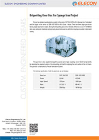 elecon product catalog for BRIQUETTING GEAR BOX FOR SPONGE IRON PROJECT