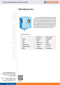 elecon product catalog for Small & Medium Wind Turbine Gearboxes - SBH 410/S & SBH 280/80